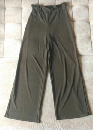 Широкие брюки кюлоты gina tricot  на резинке, шоколадные, размер m/ l/xl высокий рост