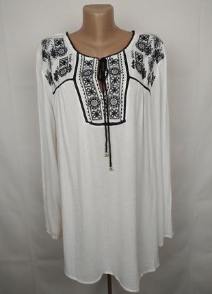 Блуза стильная вышиванка натуральная  большого размера m&co uk 22/50/4xl