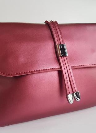 Женская сумка кожаная бордовая