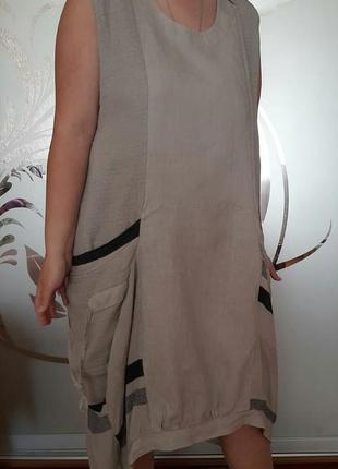 Льняное платье бохо лен оверсайз италия