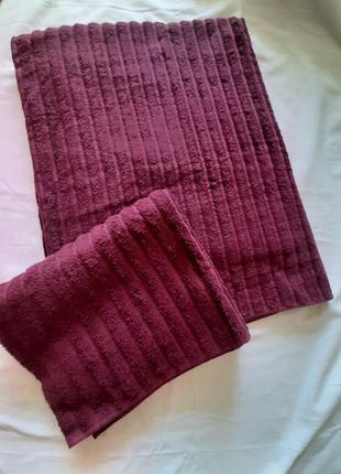 Полотенца набор 2шт 100*150  и 50*100 см  miomare® темно бордовые