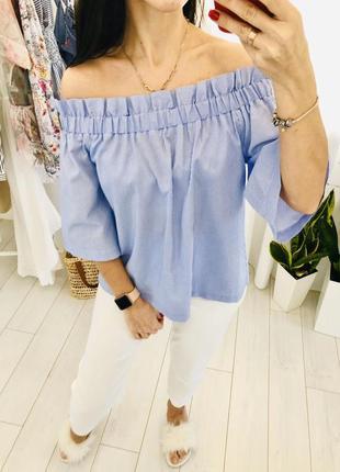 Полосатая блузка рубашка с открытыми плечами h&m