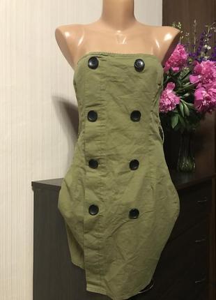 Хаки мини платье с пуговицами бюстье коттон