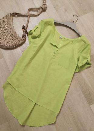 Тонкая батистовая рубашка поло салатового цвета