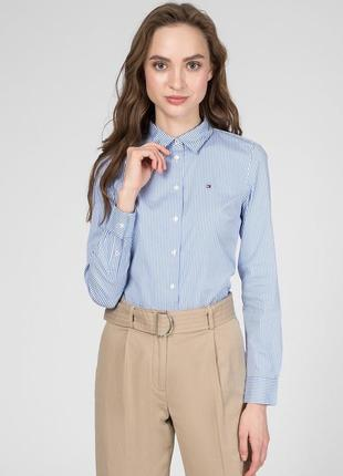 Голубая хлопковая рубашка в полоску tommy hilfiger