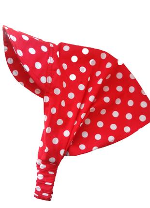 Косынка повязка бандана на резинке с козырьком белый горошек на красном