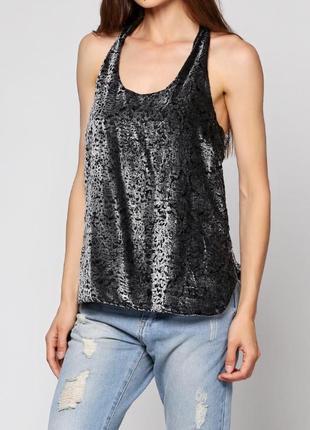 Брендовая серая велюровая майка топ блуза vila clothes вискоза этикетка