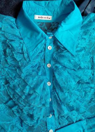 🔴гипюровая кружевная рубашка/блуза с рюшами/воланами/жабо🔴