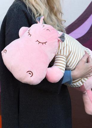 Мягкая игрушка-подушка- плед 3 в 1 бегемот розовый