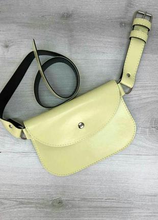 Женская сумка на пояс лимонного цвета