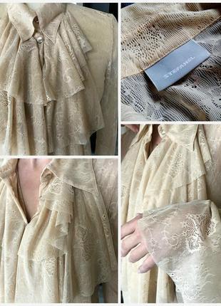🔴изысканная нюдовая кружевная рубашка/блуза/с рюшами-воланами-жабо/дорогой бренд италия🔴