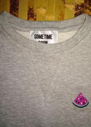 Премиум бренд лонгслив реглан свитшот marino boys с арбузом двунитка серый меланж