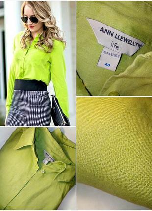 🔴льняная рубашка 100% лен/цвет лайм/премиум бренд ann llewellyn/сорочка льон🔴