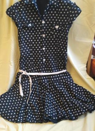 Платье-рубашка с заниженой талией.