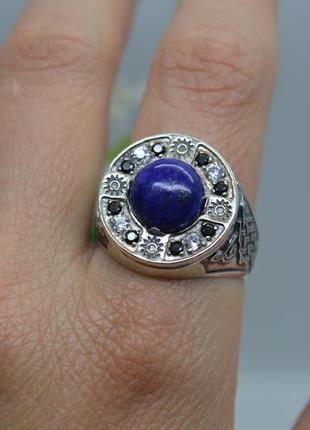 Серебряное #кольцо #каблучка #печатка #кабошон #лазурит #унисекс все размеры