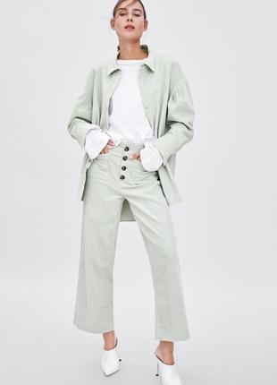 Zara вельветовые брюки кюлоты  с карманами