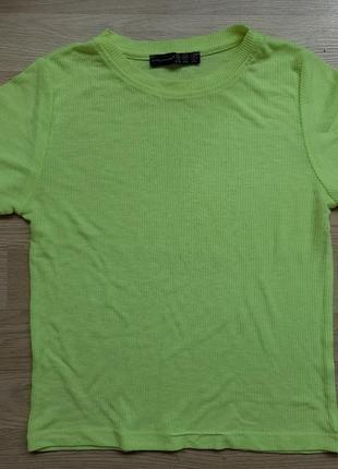 Неоновая футболка кроп топ