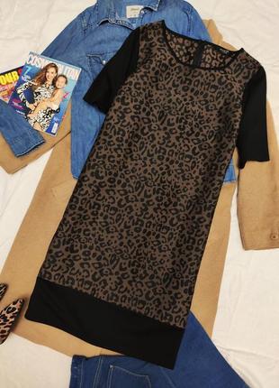 George платье леопардовое коричневое чёрное прямое большое оверсайз миди