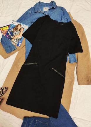 F&f платье чёрное с карманами из экокожи прямое базовое на подкладке