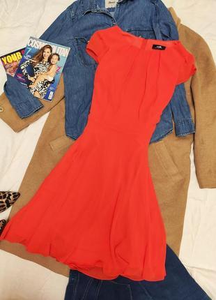 Wallis платье миди оранжевое коралловое шифоновое базовое
