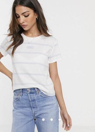 Новая белая футболка в полоску levi's оригинал