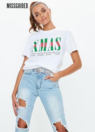 Новая белая свободная футболка x-mas missguided1 фото