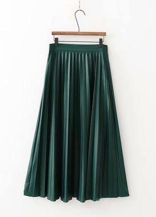 Юбка плиссе zara! юбка миди зеленая ! кожаная юбка zara