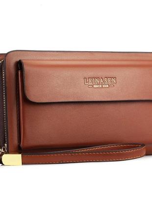 Мужской кошелек клатч коричневый на двойной застежке-молнии код 400
