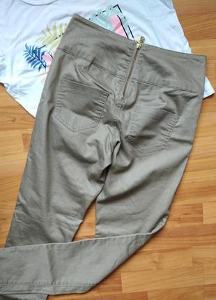 Стильные штаны, джеггинсы с пропиткой замочек на попе pieces высокая талия