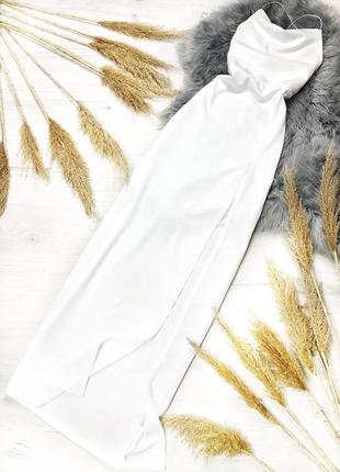 Шикарное белое макси платье с разрезом