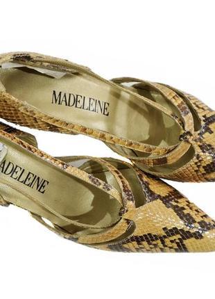 Кожаные женские бежевые туфли  medeleine. код  324