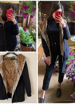 Теплая кофта куртка кардиган на утеплении чёрного цвета леопардовый турция billcee