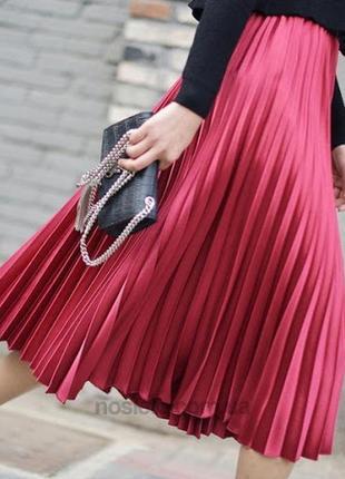 Шифоновая юбка миди плиссе s марсала