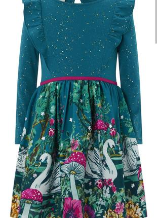 Нарядное изумрудное платье с лебедями/длинный рукав