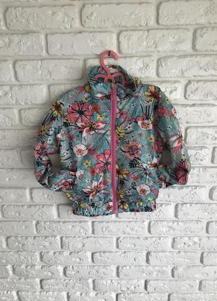 Тонка коротка вітрівка  літня, тонкая летняя ветровка, куртка короткая с цветочками