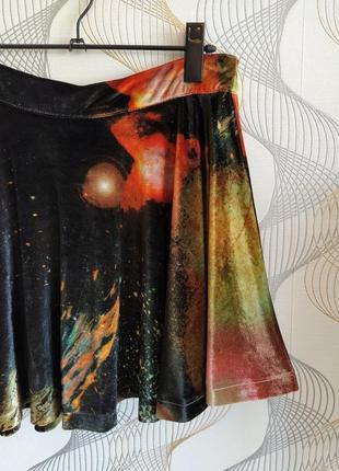 Бомбезная велюровая мини юбка,принт космос