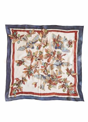 Синий шелковый платок с птицами, ручная роспись, батик