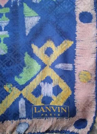 Lanvin paris винтажный шёлковый платок, шов роуль.