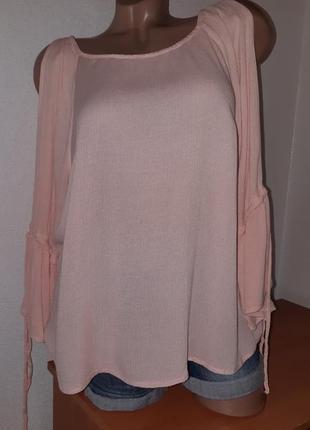 Блуза пудрового цвета  из вискозы жатка с разрезами на пасклешённых рукавах