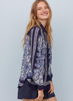 Штапельная рубашка с объёмными рукавами блузка принт пейсли оверсайз