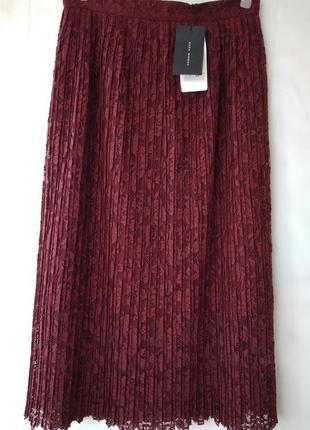 Невероятная кружевная плиссе миди юбка марсала бургунди высокая талия zara woman turkey