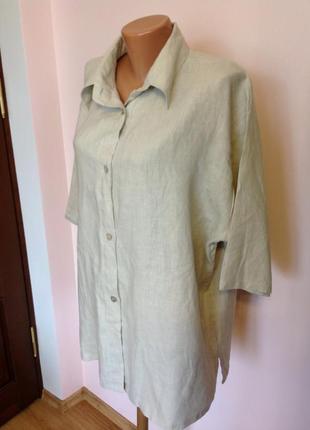 Бежевая льняная рубашка /56-58/brend bella donna