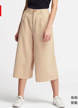 Льняные брюки кюлоты uniqlo p xs