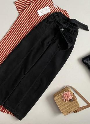 Крутые джинсовые кюлоты с поясом river island