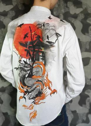 Рубашка zara с ручной росписью