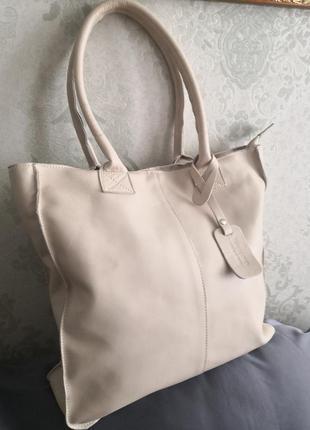 Шикарная большая кожаная сумка - шоппер, италия🌹🌹💥👜