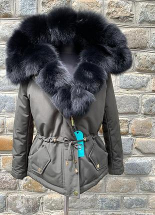 Куртка с натуральным мехом песца. зимняя куртка с мехом