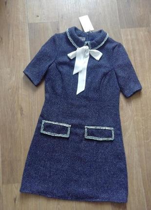 Zara стильное платье, сукня, сарафан, плаття с воротничком,