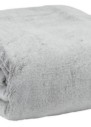 Серый уютный плюшевый плед 200*220