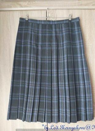 Фирменная мега нарядная юбка миди плисе в стильную красочную клетку, размер 3хл
